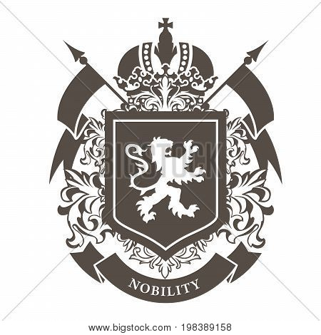Royal blazon - luxurious coat of arms with lion on shield and crown