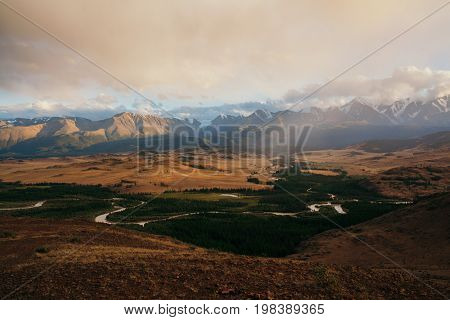View to the North Chuya ridge and Kuray steppe from above. Altay mountains. Russia.