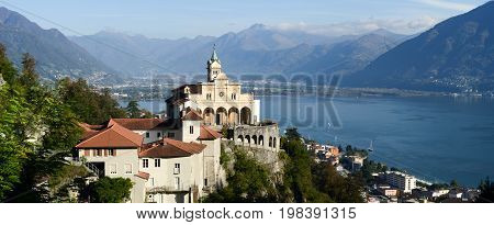 Madonna Del Sasso, Medieval Monastery On The Rock Overlook Lake Maggiore