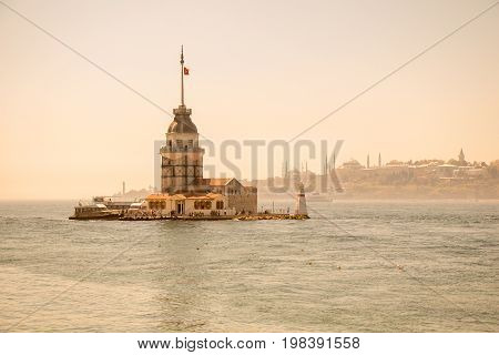 Maidens Tower Located In Istanbul