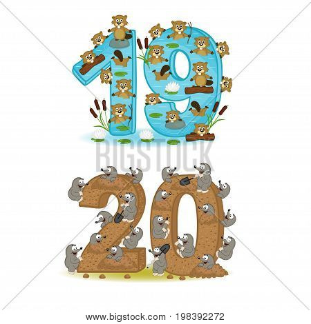set of numbers with number of animals from 19 to 20 - vector illustration, eps