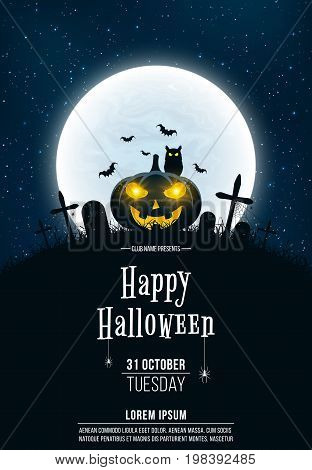 Template for Halloween party. A terrible concept of crosses graves and a glowing pumpkin. Gold dust. The black owl. Full moon. Vertical background. Club poster. Vector illustration