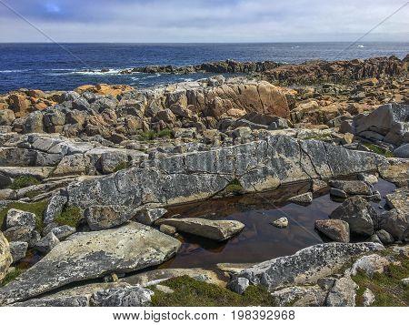 rocky rugged coastline of Fogo Island, Newfoundland