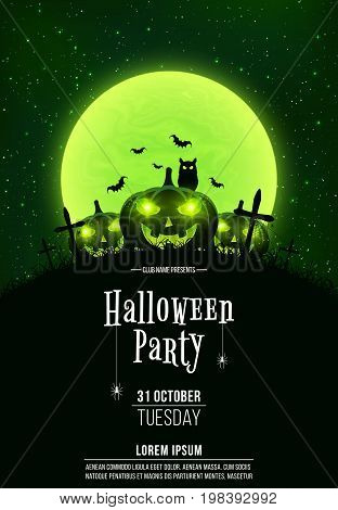 Template for Halloween party. A terrible concept of crosses graves and glowing pumpkins. Green dust. The black owl. Full moon. Vertical background. Club poster. Vector illustration