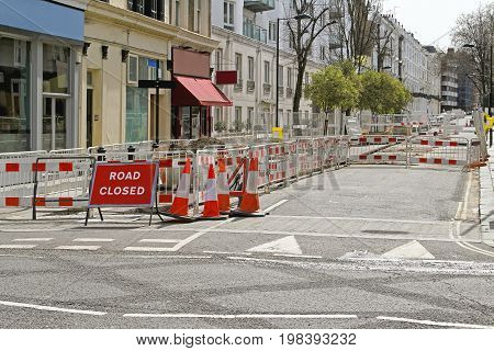 Sign at Street Closed for Road Construction Work
