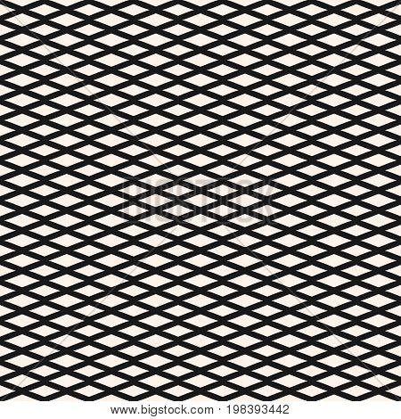 Diamond seamless geometric pattern. Simple stylish vector, texture with rhombuses, intersecting lines. Small lozenges abstract monochrome background. Design element for decor, fabric, textile, prints.