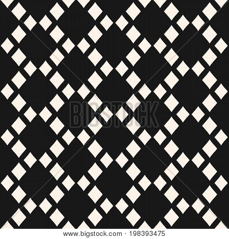 Abstract geometric seamless pattern with rhombuses in staggered grid. Vector geometrical texture, argyle pattern. Black & white. Stylish monochrome background, repeat tiles. Simple design element.