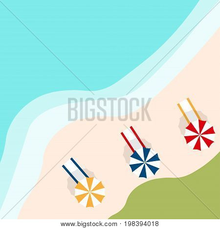 colorful vector of umbrella on the beach in summer holiday from top view. view of the island paradise.The tropical beach on the seashore for rest.Maritime hotel.beach towel