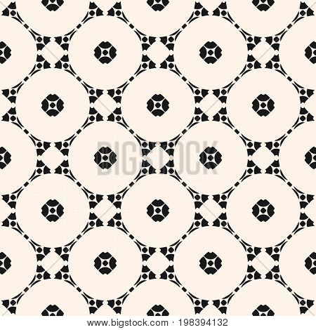 Vector ornamental geometric background with carved shapes, delicate circular lattice. Stylish pattern in Arabian style. Traditional motif in modern digital rendition. Monochrome seamless texture.
