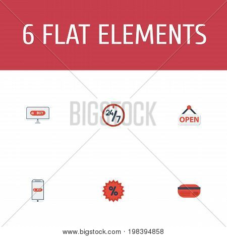 Flat Icons Percentage, Sign, Payment And Other Vector Elements