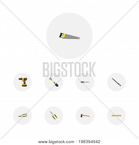 Realistic Scissors, Hatchet, Spade And Other Vector Elements