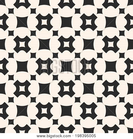 Vector seamless pattern, simple geometric texture with rounded squares, smooth carved crosses in staggered array. Stylish abstract minimalist background. Design element for prints, decor, fabric, web.
