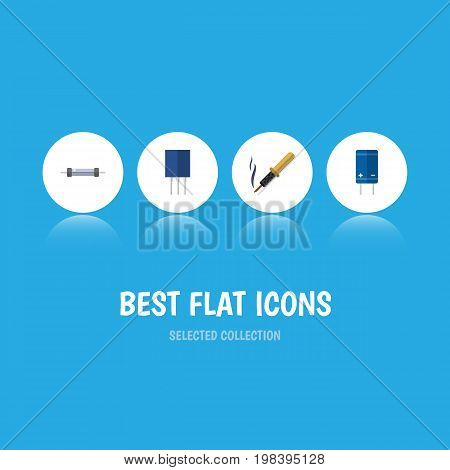 Flat Icon Technology Set Of Resistor, Transistor, Receptacle And Other Vector Objects