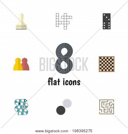 Flat Icon Games Set Of People, Pawn, Bones Game And Other Vector Objects