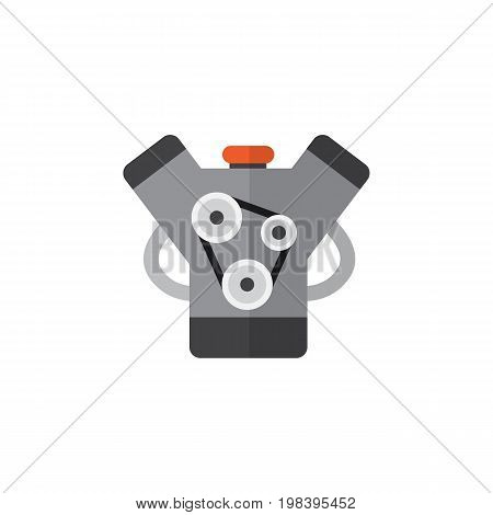 Motor Vector Element Can Be Used For Engine, Motor, Car Design Concept.  Isolated Engine Flat Icon.
