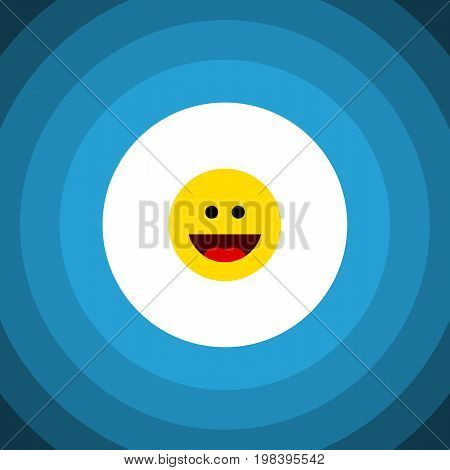 Laugh Vector Element Can Be Used For Laugh, Grin, Face Design Concept.  Isolated Grin Flat Icon.