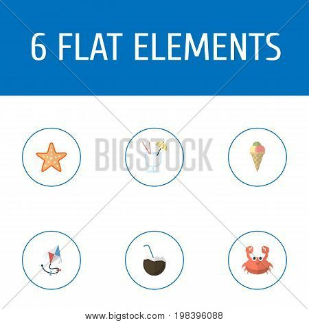Flat Icons Sorbet, Cocos, Drink And Other Vector Elements