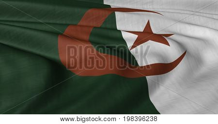 Close up of Algerian flag blowing in wind
