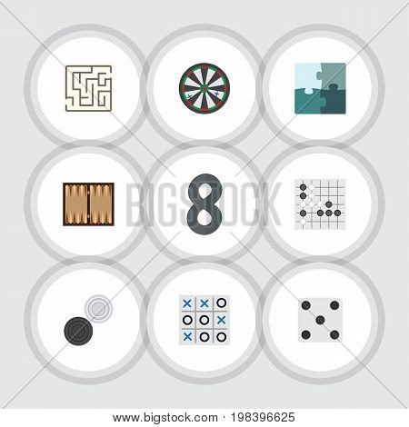 Flat Icon Play Set Of Chequer, Jigsaw, Dice And Other Vector Objects