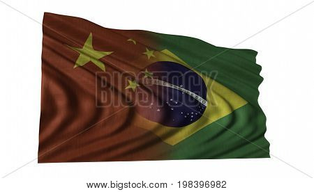 Chinese and Brazilian flag fluttering in wind