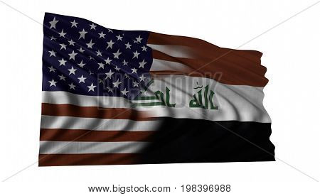 American and Iraq flag composite fluttering in strong wind.
