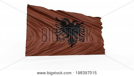 Illustration of Albanian flag billowing in breeze