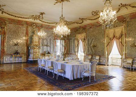 VALTICE, THE CZECH REPUBLIC - JUNE 31, 2017: Baroque castle Valtice, Lednice-Valtice Cultural Landscape UNESCO, national cultural landmark , South Moravia, Czech republic. Interior scene.