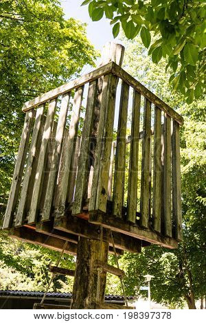 wodden tree house in the summer for kids to play
