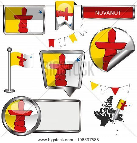 Glossy Icons With Flag Of Province Nunavut