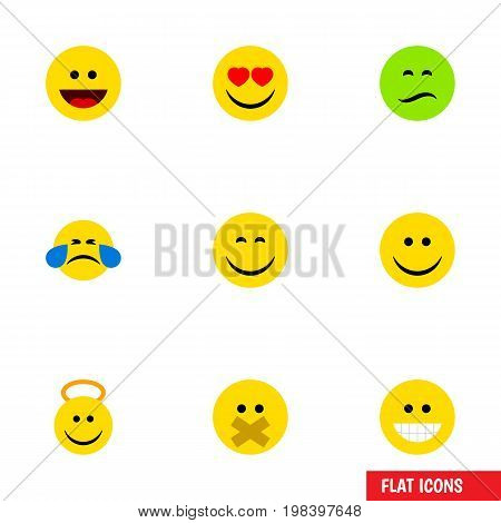Flat Icon Expression Set Of Hush, Frown, Cold Sweat And Other Vector Objects