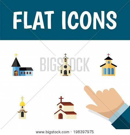 Flat Icon Church Set Of Catholic, Structure, Religion And Other Vector Objects