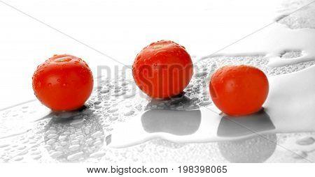 Wet fresh organic tomatoes in white background