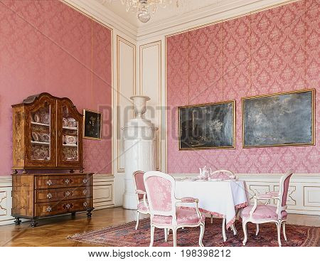 VALTICE, THE CZECH REPUBLIC - JUNE 31, 2017: Valtice castle in Czech republic. National cultural monument, originally a gothic castle and former residence of Liechtenstein family. Castle is listed on the UNESCO World Cultural Heritage list.