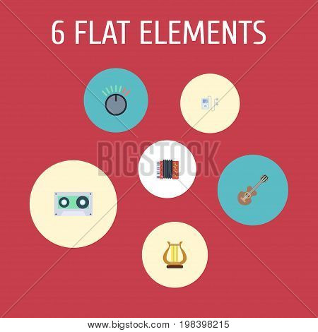 Flat Icons Mp3 Player, Tape, Harmonica And Other Vector Elements