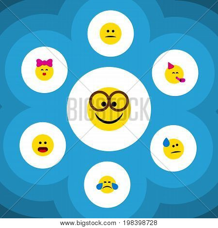Flat Icon Expression Set Of Party Time Emoticon, Pleasant, Displeased And Other Vector Objects