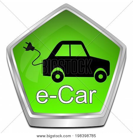 glossy green e-Car Button - 3D illustration