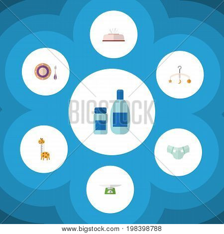 Flat Icon Baby Set Of Tissue, Cream With Lotion, Toy And Other Vector Objects
