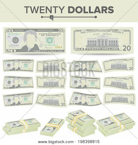 20 Dollars Banknote Vector. Cartoon US Currency. Two Sides Of Twenty American Money Bill Isolated Illustration.