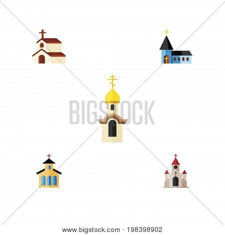 Flat Icon Christian Set Of Christian, Traditional, Religion And Other Vector Objects