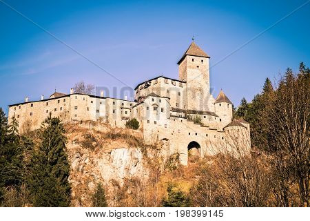 Campo Tures Italy - December 26 2016: Castle Taufers in Campo Tures Valle Aurina Italy.