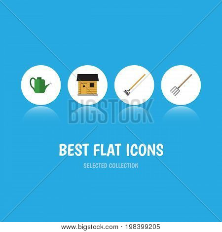 Flat Icon Farm Set Of Stabling, Bailer, Tool And Other Vector Objects