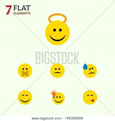 Flat Icon Expression Set Of Have An Good Opinion, Displeased, Angel And Other Vector Objects