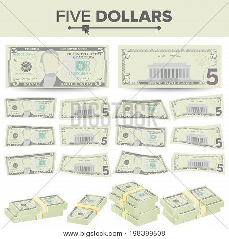 5 Dollars Banknote Vector. Cartoon US Currency. Two Sides Of Five American Money Bill Isolated Illustration.