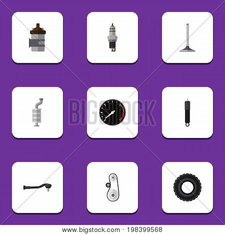 Flat Icon Component Set Of Wheel, Input Technology, Cambelt And Other Vector Objects