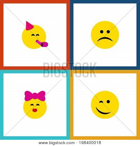 Flat Icon Face Set Of Sad, Winking, Caress And Other Vector Objects