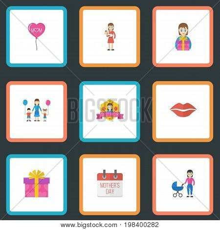 Happy Mother's Day Flat Icon Layout Design With Stroller, Best Mother Ever And Kiss Symbols