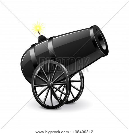 Cannon isolated on white photo-realistic vector illustration