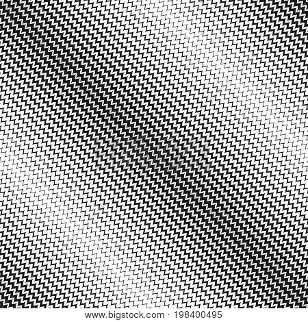 Vector halftone background. Abstract modern geometric seamless pattern with small zigzag lines. Black & white diagonal zig zag waves. Stylish monochrome texture with gradient transition effect.