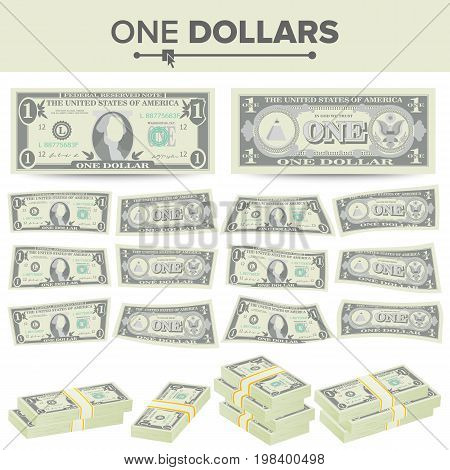 1 Dollar Banknote Vector. Cartoon US Currency. Two Sides Of One American Money Bill Isolated Illustration.
