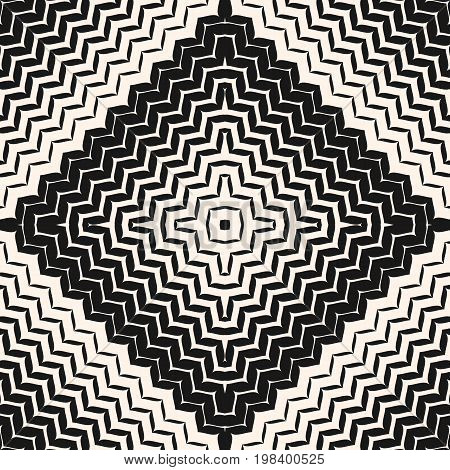 Vector halftone seamless pattern. Diagonal zigzag lines in square form. Abstract monochrome geometric background texture with gradient transition effect. Design for decor, fabric, textile, package.